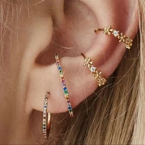 Multi-Colored Cubic Zirconia Domed Earring, NWT